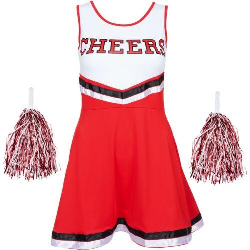 HALLOWEEN RED CHEERLEADER FANCY DRESS OUTFIT HIGH SCHOOL UNIFORM COSTUME POM POM
