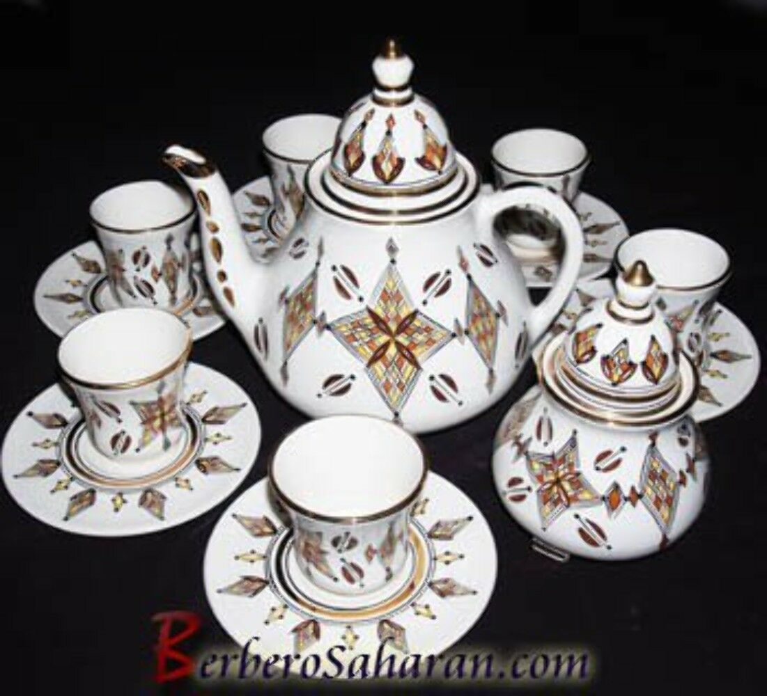 Handmade Algerian marron Tuareg star Tea set in blanc ceramic & or