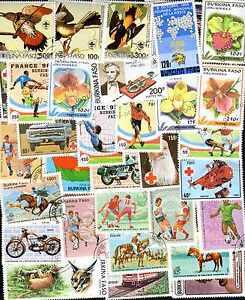Burkina-Faso-150-sellos-diferentes-matasellados