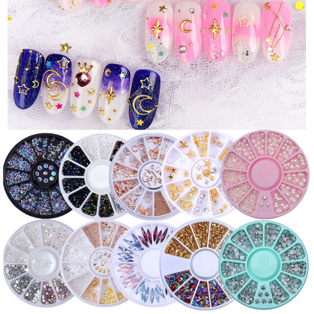 9e4643fd9a Crystal Rhinestones Nail art Pick Silver Gold Beads Pearls Mixed Studs
