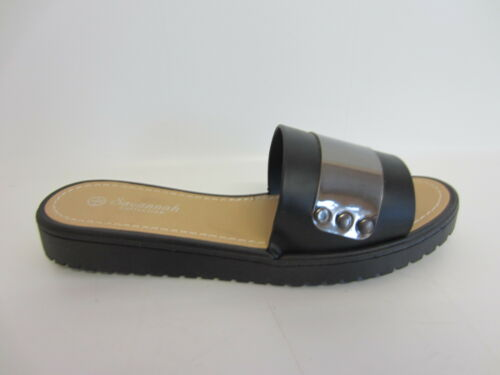 R9B Savannah F0R834 Ladies Black /& Pewter Slip On Sandals