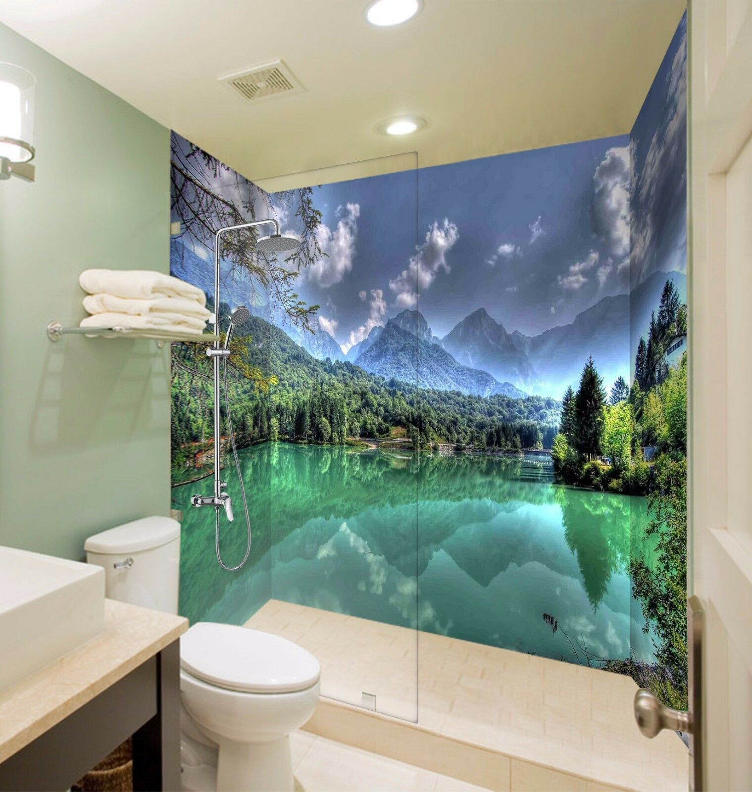 3D 3D 3D Mountain River 433 WallPaper Bathroom Print Decal Wall Deco AJ WALLPAPER AU a1e71d