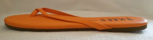 TKEES ZINC Leder gepolstert orangefarben Damensandale Zehentrenner neu Gr 42