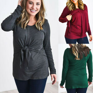 Women-Maternity-Loose-Comfy-Pull-up-Nursing-Tops-Breastfeeding-Shirt-Blouse-Hot