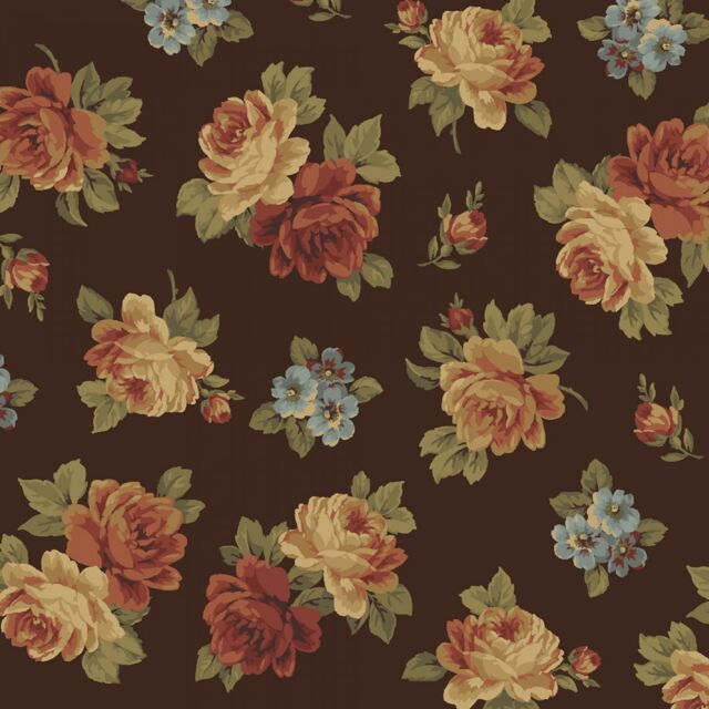 Wharton Tossed Roses Brown small Floral Cotton Windham Fabrics #4700 By the Yard