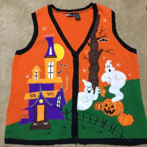 HALLOWEEN Sweater Vest Holiday Editions XL *Bats W