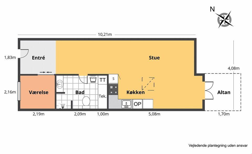 4200 2 vær. andelslejlighed, 63 m2, Trekanten 1 2