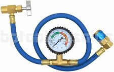 """26"""" R134a AC HVAC Recharge Measuring Refrigerant Hose Can Tap with Gauge System"""