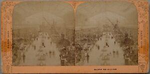 Parigi 1889 Galerie Dei Machines Expo Universale Foto Stereo Vintage Albumina