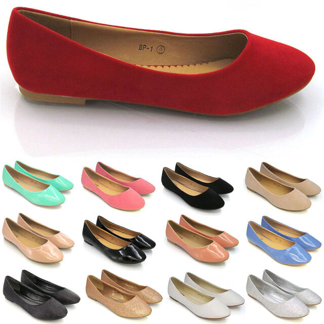 LADIES FASHION FAUX SUEDE BALLERINA DOLLY PUMPS RED SIZE 3-8 NEW!