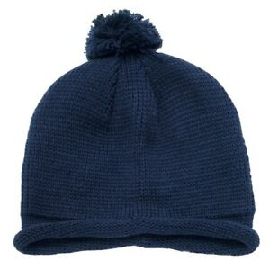 0aeaa67775d Navy Blue Solid Roll Up Beanie Pom Pom Winter Ski Hat Cap Skull Knit ...