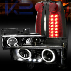 88-98-Chevy-C-K-Pickup-Black-Halo-Projector-Headlights-Red-Clear-LED-Tail-Lamps