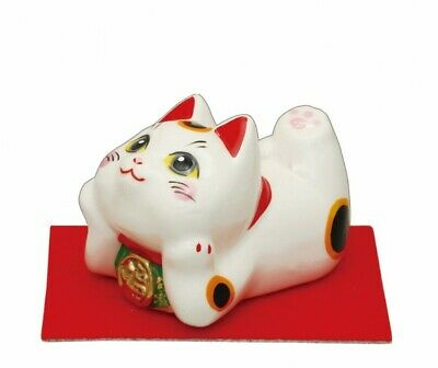Maneki neko Japanese porcelain Gold lucky cat goronya-go Money fortune fromjapan