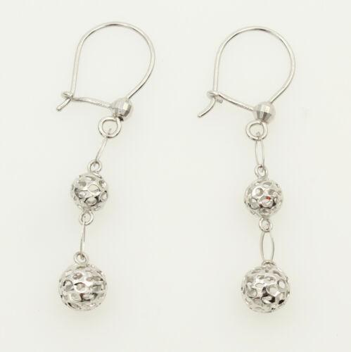 14K White Gold Fancy Dangle Hanging Earrings for Woman
