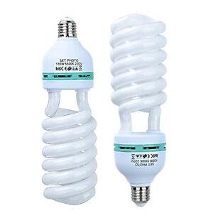 2Pcs 5500K 150W E27 Photography Daylight Studio Bulbs Continuous CFL Light Lamp