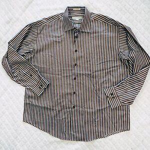 Pronto-Uomo-Dress-Shirt-Size-XL-Striped-Brown-Blue-Long-Sleeve-100-Cotton