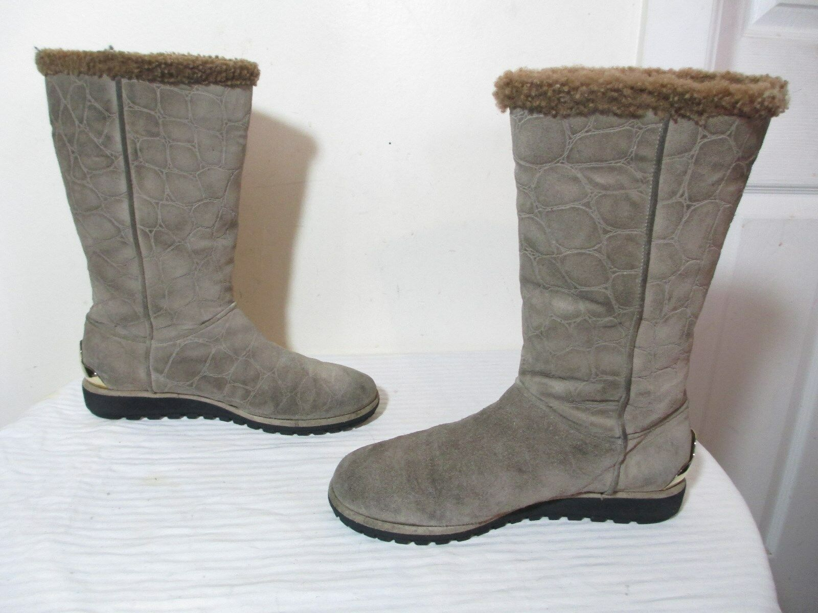STUART WEITZMAN MID CALF SNAKE EMBOSSED NEUTRAL SUEDE WINTER WEDGE WEDGE WEDGE BOOTS SZ 9 33e3b0