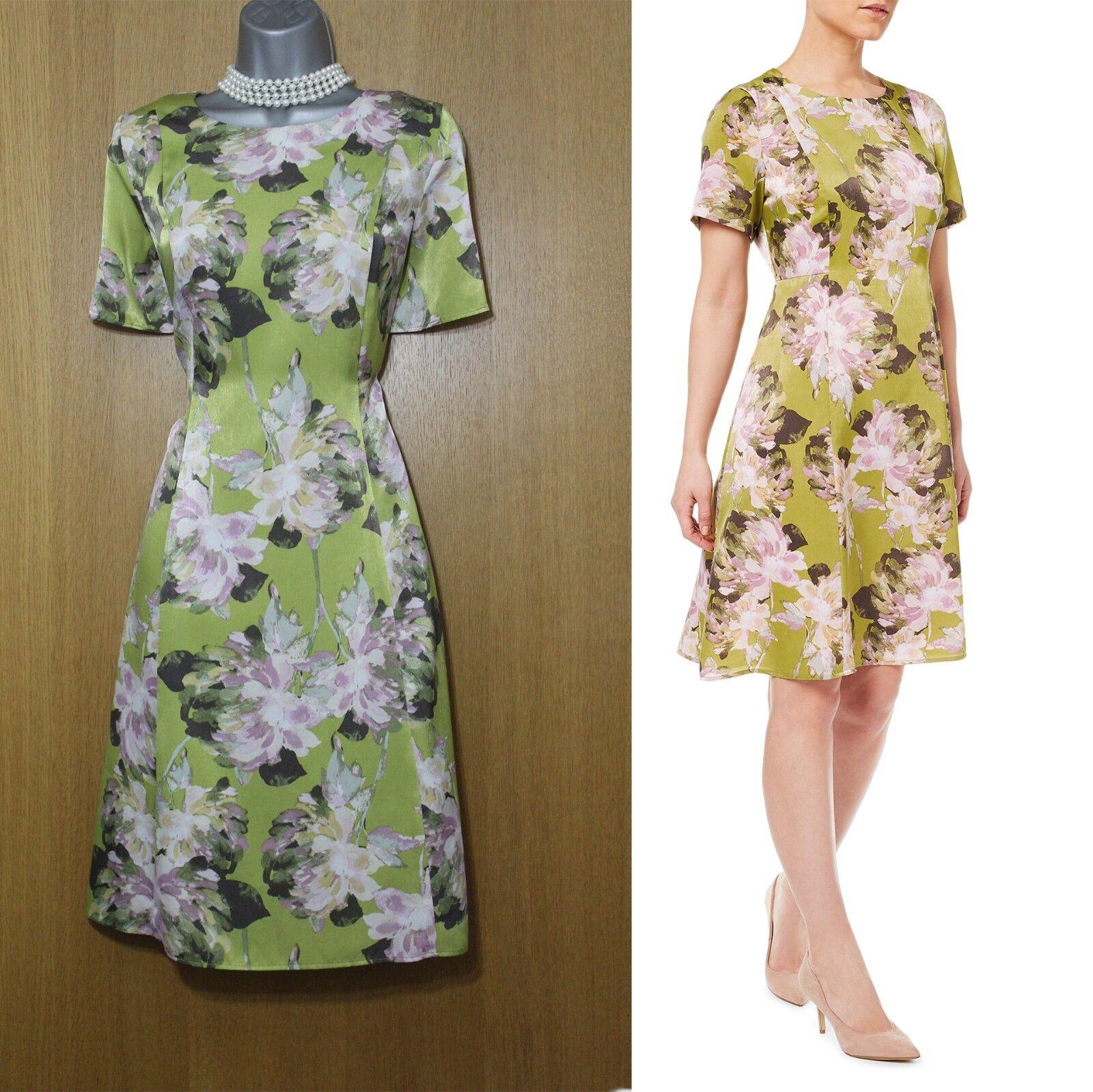 BNWT EASTEX Peony Print Short Sleeves A Line Flattering Dress UK10 EU38 rrp