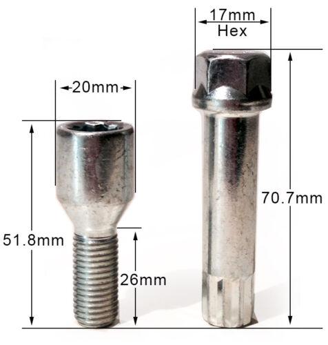 Chrysler Crossfire 17mm hex star key 5 x alloy wheel tuner bolts M12 x 1.5