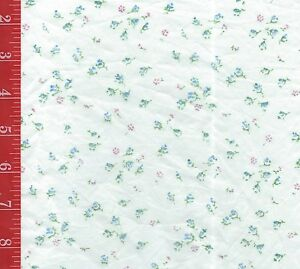 "VINTAGE White TINY blue FLORALSheer blend Fabric 39"" Wide sold By The 1/2 Yard"