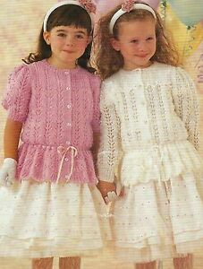 73a238898 Image is loading Girls-Lace-Cardigans-Knitting-Pattern-20-30-034-