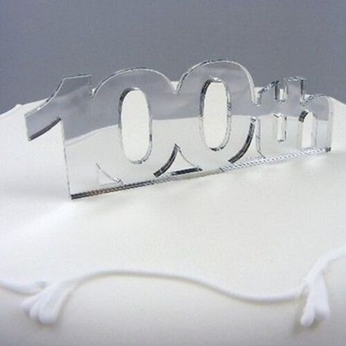 100th Birthday Cake Topper Mirrored