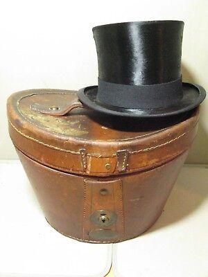 Abile Antico Vintage In Pelle Top Hat Caso Ascot-mostra Il Titolo Originale