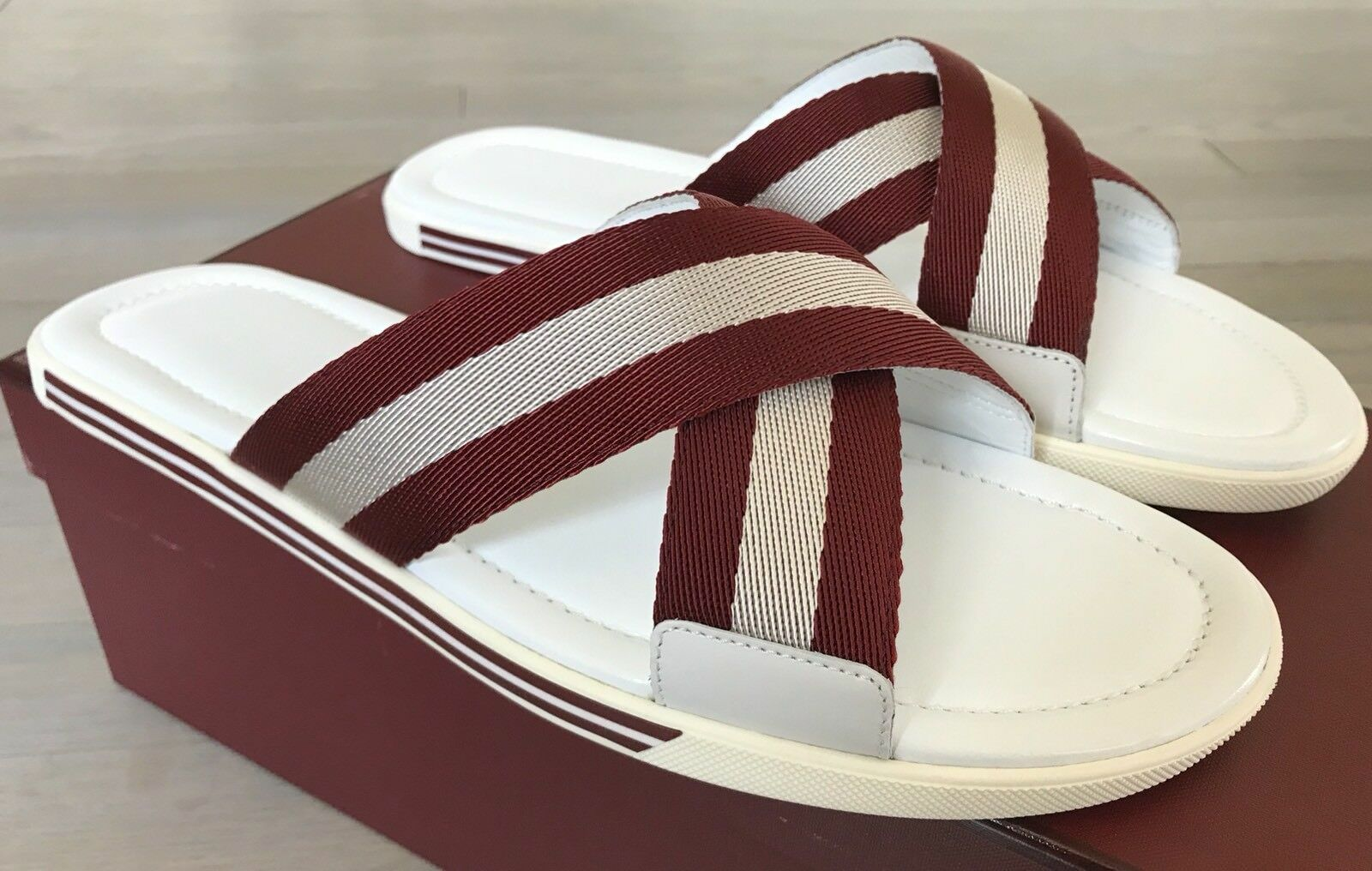500  Bally Bonks White and Red Pelle Sandals size   11 Made in Italy