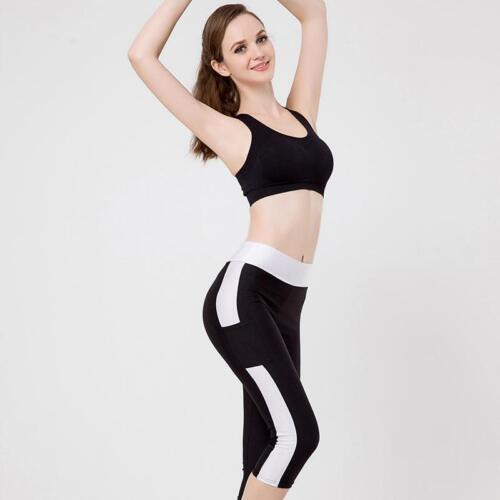 Women/'s 3//4 Length Tight Capri Pants Leggings Fitness Gym Yoga Sport Trouser Z