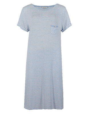 Ex Marks and Spencer Blue Stripe Cool Comfort Nightdress Nightie 8-22 W3.15
