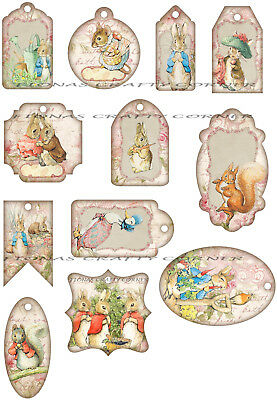 GIFT TAGS FOR SCRAPBOOK PAGES 12 EASTER SPRING BEARS EGGS CHICKS HANG 06