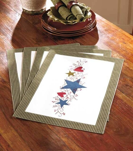lovely Primitive Hearts And Stars Part - 16: Primitive Country Hearts u0026 Stars Berries 4Pc Placemats Gingham Table Linen  Set