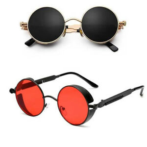 c83fb7ca6b Image is loading Vintage-Polarized-Steampunk-Sunglasses-Retro-Cool-Round- Mirrored-