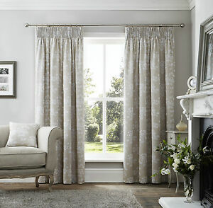 Headingham-Pencil-Pleat-Fully-Lined-Jacquard-Curtains-Beige-Woven-Floral-Leaf-UK