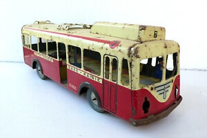 Joustra Trolley-bus 1959 Tôle Lg 40 Cm Ref 450 État De Jeu À Restaurer