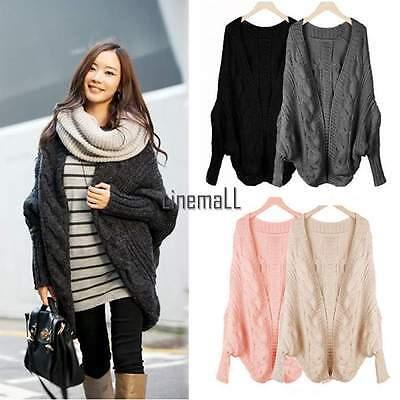 Women Loose Oversized Knitted Sweater Batwing Sleeve Tops Cardigan Outwear Coat