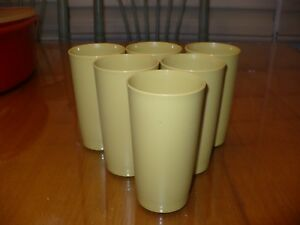 6 Vintage Tupperware Tumblers #873 Drinking Glasses 12 oz Harvest Gold