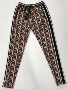 Hudson-Brown-Tan-Geo-Pattern-TRACK-Pants-Mens-Size-Large-Rare-Free-Shipping-s