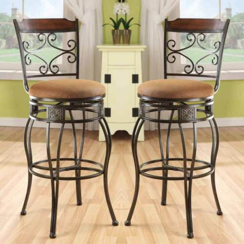 "Tavio Set of 2 Metal 29/""H Swivel Bar Stools Chairs Metal Swirl Chair Back Decor"