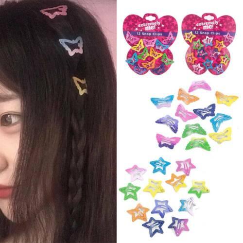 12PCS//Set Kids Girls/' Cute Candy Color Barrettes BB Clip Hair Clips Accessories