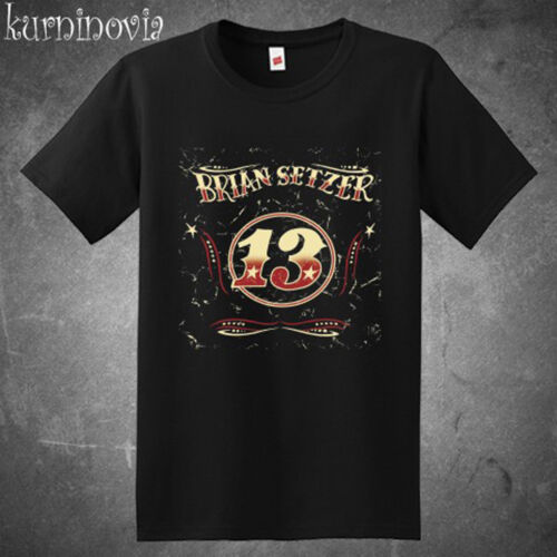Brian Setzer 13 Album Rock Music Legend Men/'s Black T-Shirt Size S to 3XL