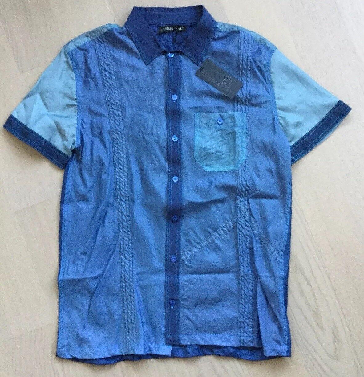 NWT LONGJOURNEY Short Sleeve Shirt made from Vintage Parachutes Sz M
