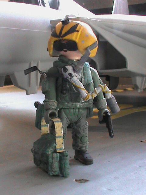 PLAYMOBIL PERSONNALISÉ US PILOTE F-14 TOMCAT (BALKANS-1999)  REF-0193 BIS  grandi prezzi scontati
