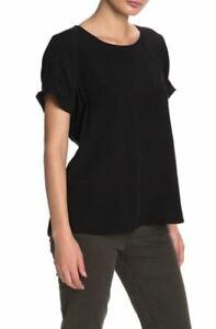 Dr2-by-Daniel-Rainn-Women-039-s-Black-Short-Sleeve-Pinch-Rayon-Blouse-X-Small