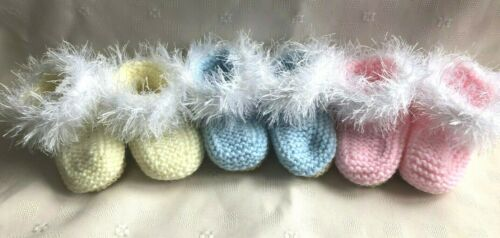 Pink /& Lemon Hand Knitted 0-3 Baby Booties 3 Colours Available Blue