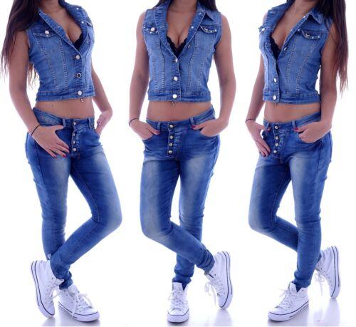 Boyfriend Jeans Chino Baggy Harem Hose Hüftjeans Blau Pluderhose M63