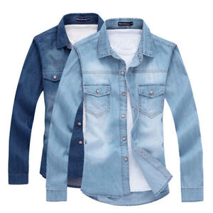 Fashion-Men-Casual-Slim-Fit-Denim-Shirt-Casual-Jeans-Luxury-Stylish-Wash-Shirts