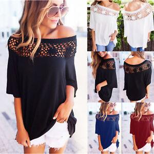 Mujer-Hombro-Descubierto-Encaje-Blusa-Camiseta-Verano-Playa-Informal-Holgado