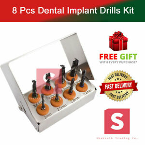 Dental-Implant-Drills-Kit-8-Pcs-Set-Titanium-Coated-Black-Surgical-Tools-NEW