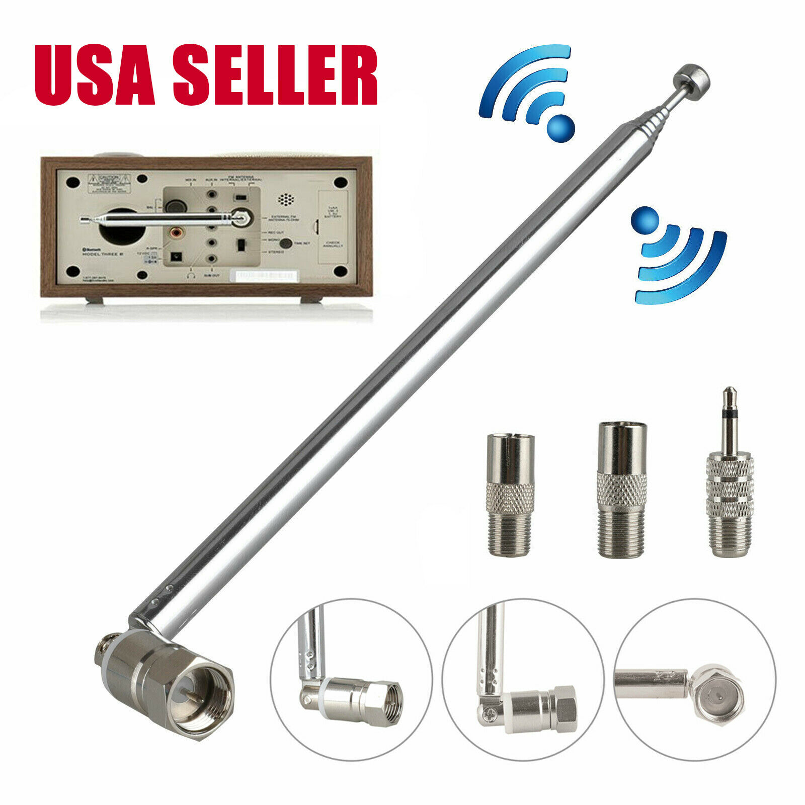 ccc-shop F Type Telescopic Aerial FM Antenna 75 Ohm For Table Top Radio Stereo Connector